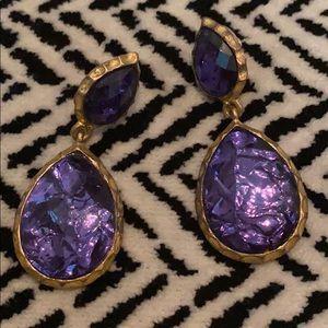 Amrita Singh purple gold dangle earrings